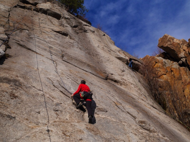 Rossland resident Keith Robine on the route Glory Hole –the price of the hardware was reimbursed by TAWKROC