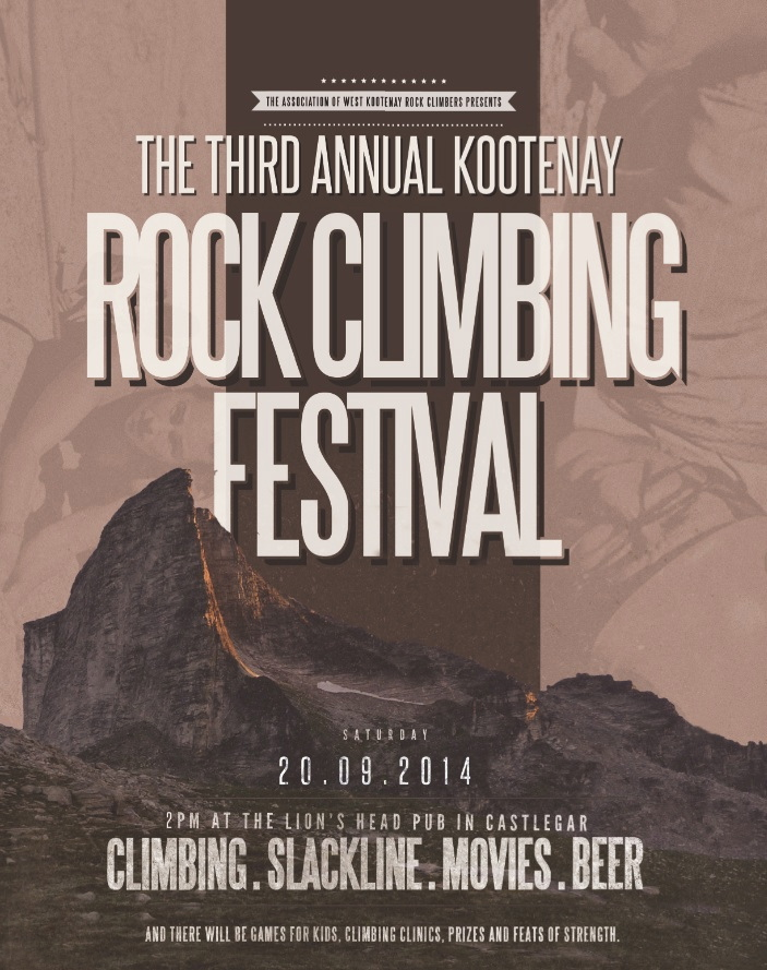 Poster for Kootenay Rock Climbing Festival 2014 in British Columbia