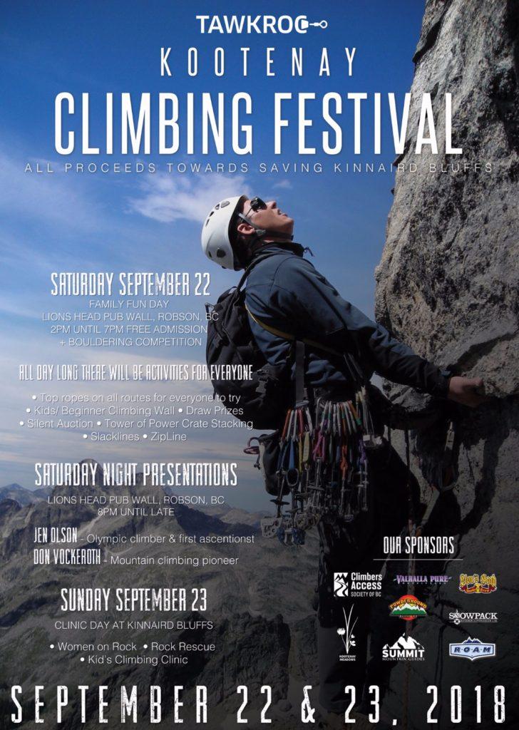 poster for kootenay climbing festival 2018